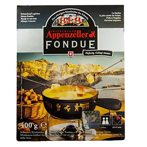 Food-United Schweizer-Käse Appenzeller-Fondue-Käse 2x 400g Swiss Schweizer Käsefondue mit Appenzeller für Fondue-Topf oder Caquelon cremig fein-herb zart-schmelzend