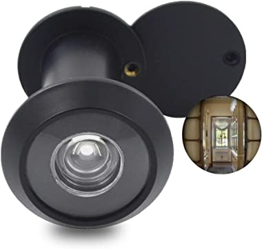 """Door Viewer Peephole, Solid Brass 220-degree Door Viewer with Heavy Duty Rotating Privacy Cover for 1-3/8"""" to 2-1/6"""" Doors fo"""