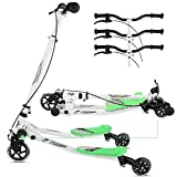 Y Flicker Scooter for Kids Ages 5-8, 3-Level Adjustable Height Fliker Swing Wiggle Scooter Foldable Kick Speeder Drifter for Boys and Girls
