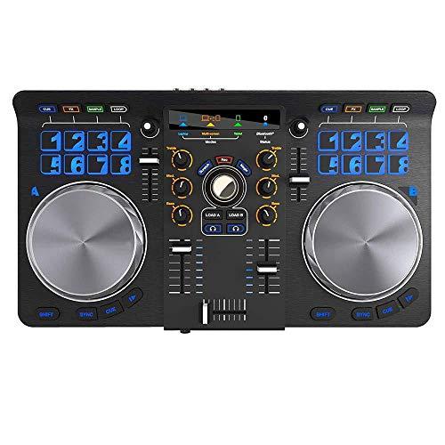 TeAlp Controlador de DJ, Party Mix plug-and-play de 2 canales para Serato DJ Lite con interfaz de audio incorporada, crossfader,controles de pad