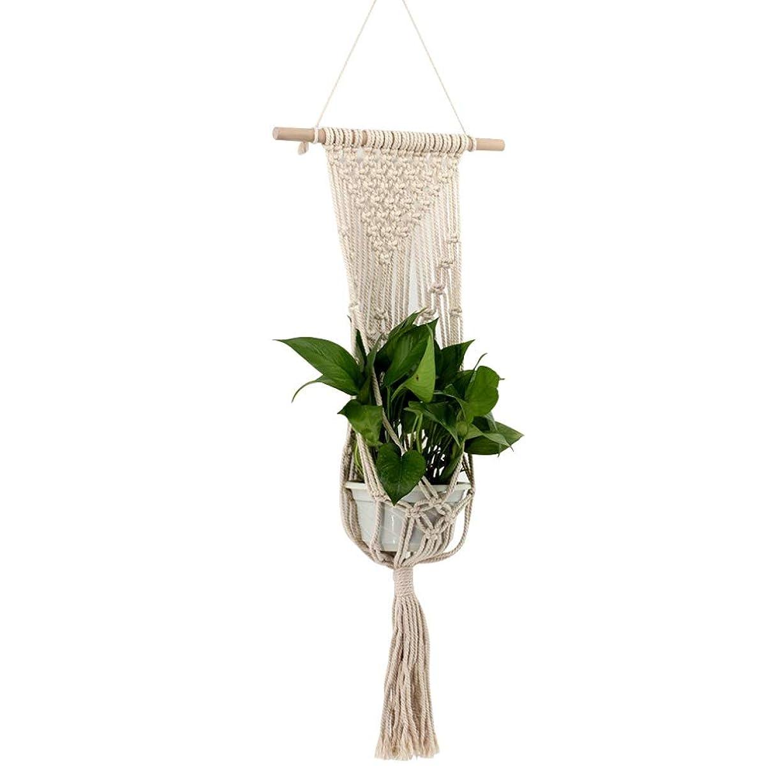追い払う悪意株式屋外屋内植物ハンガーマクラメ プラントハンガー 観葉植物 吊り下げ ロープ ハンギングプランター り下げ植物ハンガー 編み糸 綿ロープ製 Xchumot