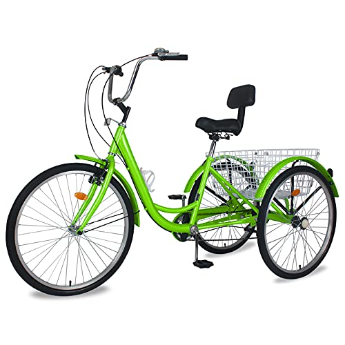 industrial trikes MOPHOTO Adult Tricycles Three Wheel Cruiser Bike 7 Speed, Adult Trikes 24/26 inch Wheels Low Step-Through, Three-Wheeled Bicycles for Women, Men, Seniors