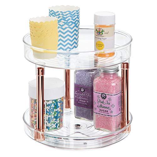 mDesign Lazy Susan kruidenmolen – praktisch kruidenrek voor keukenkast of het aanrecht – draaibaar kruidenhouder van BPA…