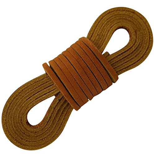 TOFL Leather Boot Laces|1/8 Inch Thick 72 Inches Long|2 Leather Strips [1 Pair]|Tan