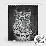 Enhome Anti-Schimmel und Wasserdicht Duschvorhang Für Badezimmer, 3D Tiermuster Leopard Wasserdichten Polyestergewebe Badezimmer Vorhang Gewebe Mit 12 Duschvorhangringe (Blaue Augen,90x180cm)