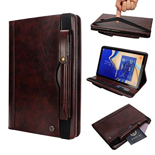 YDYX AYCC Horizontal Flip Leather Case for Galaxy Tab S4 T830 10.5 inch, with Double Card Slots & Pen Slots & Holder & Wallet & Photo Frame(Black) (Color : Dark Brown)