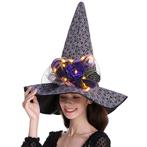 QinYing Purple Glitter Halloween Costume Witch Hat for Women Curved Top with Lamp
