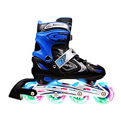 Xino Sports Kids Inline Skates for Girls & Boys - Adjustable Roller Blades with LED Illuminating Light Up Wheels - Youth Skates Can Be Used Indoors & Outdoors - Sizes for Ages 5-20