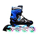 Xino Sports Adjustable Inline Skates for Kids, Featuring Illuminating Front Wheels, Awesome-Looking, Comfortable, Safe and Durable Rollerblades, for Boys and Girls.