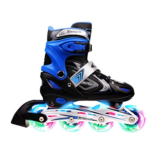 Xino Sports Kids Inline Skates for Girls & Boys - Adjustable Roller Blades with LED Illuminating Light Up Wheels - Youth Skates Can Be Used Indoors & Outdoors (Blue, Youth Big Kid Medium - 1-4)