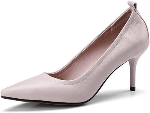 Escarpins YIXINY Chaussures pour Femmes Talons Hauts Pointu Bouche Peu Profonde Confortable Office Loisirs Talon 7cm (Couleur   Beige, Taille   EU38 UK5.5 CN38)