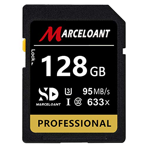 128GB Memory Card, Marceloant Professional 633 x Class 10 UHS-I U3 Memory Card for Computer Cameras and Camcorders, Memory Card Up to 95MB/s, Yellow/Black