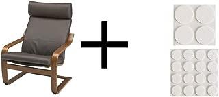Ikea Chair, medium brown, Robust Glose dark brown and Ikea Stick-on floor protectors set of 20