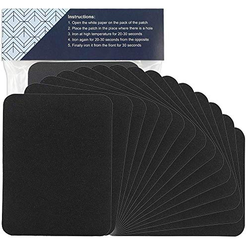 COCOBOO 15pcs Iron on Patches Black Fabric Clothing Patches Large Size Repair Kit for Clothes Knee Work Pants Jeans 4.9 Inches x 3.7 Inches