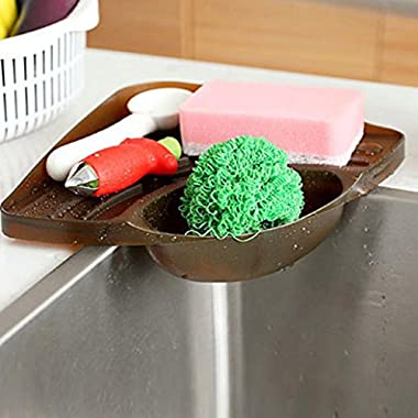 Ninasill Hot ! ღ ღ Sponges Kitchen Sink Corner Shelf Wall Cuisine Dish Rack Drain Boxes (Coffee)
