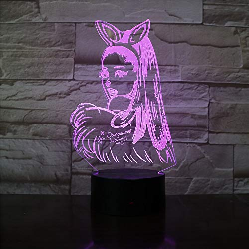 LIkaxyd 3D Optical Illusion Night Light Cat Girl 7 Colours Changing Sleeping Lighting with Smart Touch Button Cute Gift Warming Present Creative Decoration Ideal Art and Crafts