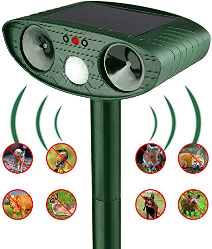 PECHTY Katzenschreck Tiervertreiber, Solar Tiervertreiber Haus- & Wildtierabwehr mit Zwei Lautsprechern und Blitz für Mäusen, Katzen, Hunde, Wildtiere