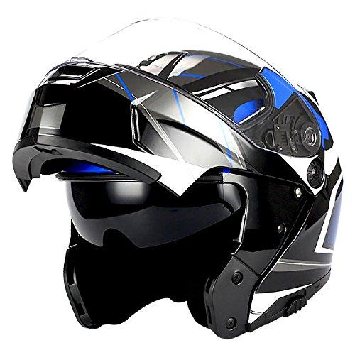 1Storm Motorcycle Modular Full Face Helmet Flip up Dual Visor/Sun Shield Racing Blue
