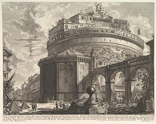 Giovanni Battista Piranesi Giclée Leinwand Prints Gemälde Poster Wohnkultur Reproduktion(Ansicht des Mausoleums des Kaisers Hadrian nannte sich Castel S Angelo von hinten von Vedute Di Roma) #XFB
