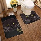 Big Grumpy Face Fat Cat - Juego de alfombras de baño de 2 Piezas Alfombrilla de baño, súper Absorbente, Antideslizante, Alfombrilla de Franela Alfombrilla de baño Set de Contorno