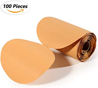 SPEEDWOX 100 Pcs Sanding Paper Discs Roll Pressure Sensitive Adhesive Discs 500 Grit 6 Inches C-Weight Sandpaper Aluminium Oxide Golden Yellow Sticky Backing Anti-Loading Coating