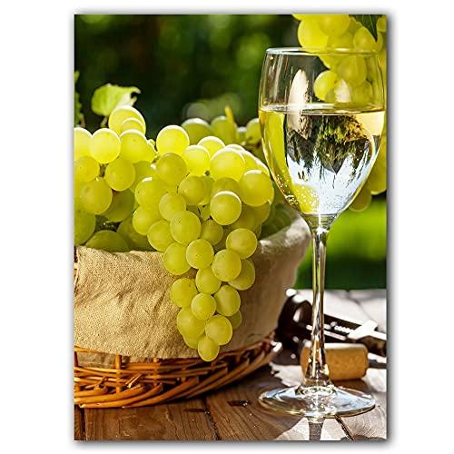 YINGFUN Cuadro romántico para decoración del hogar, lienzo para pared, póster de uvas y vino, pintura verde, viñedo, cocina, decoración de alimentos (color: D, tamaño: 30 x 40 cm, sin marco)