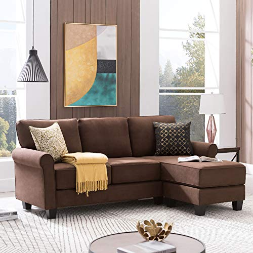 Nolany Reversible Sectional Sofa Couch for Small Apartment L Shape Sofa Couch 3-seat Sectional Corner Couch (Mahogany Brown)