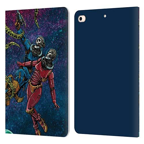 Head Case Designs sous Licence Officielle David Lozeau Astronaute Espace Couple Amour Grunge Coloré Coque en Cuir à Portefeuille Compatible avec Apple iPad Mini (2019)