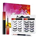Magnetic Eyelashes with Eyeliner Kit - 8D Lashes Natural Look, 10 Pairs Date &Party Styles Natural Look Magnetic Lashes, Reusable, No Glue, Tweezers, eyebrow Brush/Lip Brush