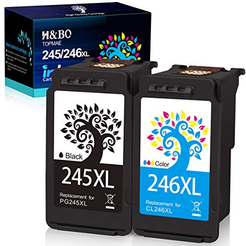 H&BO TOPMAE Remanufactured Ink Cartridges Replacement for Canon PG-245XL CL-246XL PG-243 CL-244 used for PIXMA TS202 TS3120 TR4520 MG2922 MG3020 IP2820 MG3022 MG2420 MX490 MX492 (1 Black +1 Tri-Color)