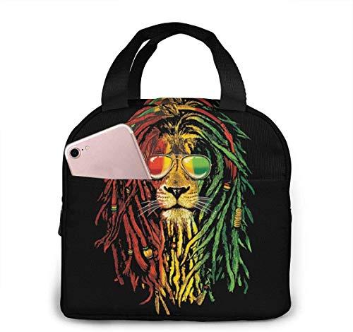 Reggae Rasta Flag Lion King Lunch Bag Cooler Bag Mujer Tote Bag Aislante Lonchera térmica Resistente al agua Bolsa de almuerzo con forro suave Bolsas de almuerzo para mujer / Picnic / Navega