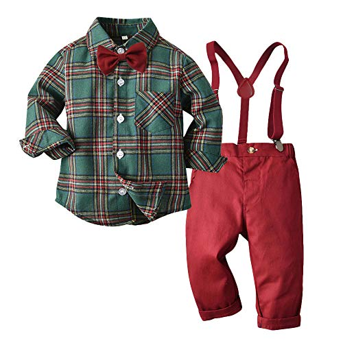 Moyikiss Studio Toddler Dress Suit Baby Boys Gentleman Clothes Sets Bow Ties Shirts + Suspenders Pants Outfits (Green, 110/4T)
