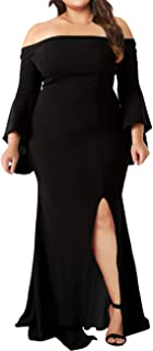 Women's Plus Size Off Shoulder Bodycon Long Evening Party Dress Gown