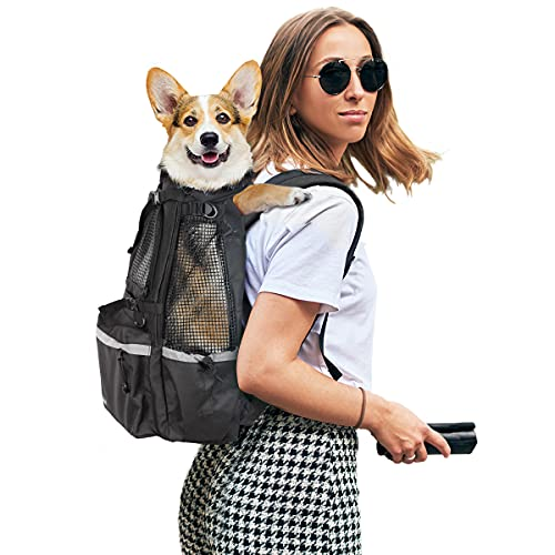 Dog Carrier Backpack, Adjustable Backpack with Foam Booster Block, Trainer Backpack with Breathable Mesh, Front Pack with Head-Out Design Backpack for Most Small and Middle Dogs.