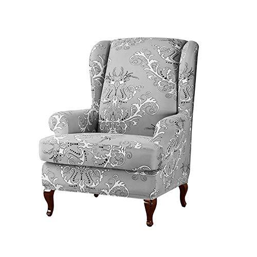 KASHINO Fundas elásticas para sillones con respaldo alado, de poliéster, de licra, fundas de sofá, con estampado de flores, color 1 funda para silla