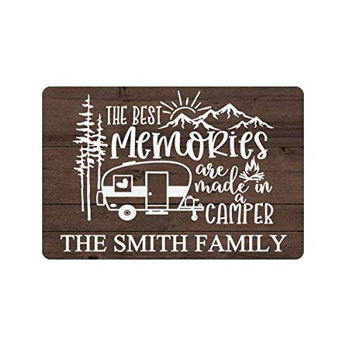 """Personalized Camp Doormat The Best Memories are Made in A Camper Family Name 24"""" X 16"""" Indoor Outdoor Funny Welcome Entrance Door Mat Area Rug Decor"""