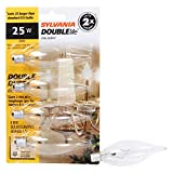 Sylvania Home Lighting 13306 Incandescent Bulb B10-25W-2850K, Double Life, Clear Finish, Candelabra Base, Pack of 4