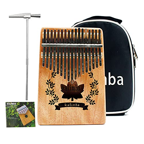 VLVEE Kalimba 17 Clés Pouce Piano, Kalimba Instrument avec Instructions d'étude/Tuning Hammer/Portable sac, bois Acajou, Haute Qualité pour Mbira Cadeau musical (17-keys)