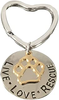 Best Pet Rescue Jewelry, Live Love Rescue Keychain - Paw Print Jewelry, Gift for Dog or Cat Owners Review