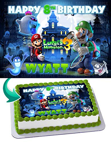 Cakecery Luigis Mansion 3 Mario Edible Cake Image Topper Personalized Birthday Cake Banner 1/4 Sheet