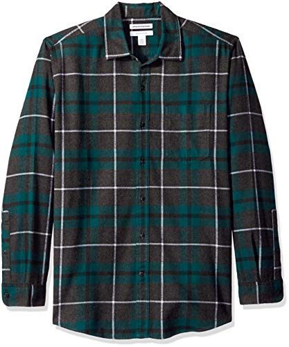 Amazon Essentials Men's Regular-Fit Long-Sleeve Plaid Flannel Shirt, Green/Charcoal Heather, Large