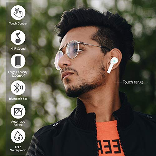 Bluetooth Earbuds, Usams Wireless Headphones,Latest Bluetooth 5.0 Bluetooth Headsets,6-Hr Playing Time Bluetooth Headset,Built-in Mic Stereo Sports Headphones for IOS For Android for Smart Phone-White