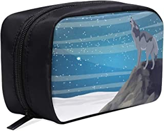 Wolf Howling With Head Up On A Rock Portable Travel Makeup Cosmetic Bags Organizer Multifunction Case Small Toiletry Bags For Women And Men Brushes Case