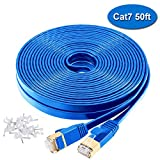 Cat7 Ethernet Cable - 50ft Switch boxes Cable 10 Gigabit 600MHz Ethernet Patch Cable with Clips,Shielded RJ45 Connectors for Xbox One, Switch, Router, Modem, Printer Faster Than Cat6 Cat5 (50FT, BLUE)