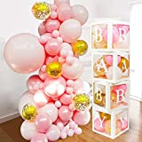 82 PCS Baby Shower Decorations for Girl - Jumbo Transparent Baby Block Balloon Box Includes BABY, A - Z Letters DYI, White Pink Gold Confetti Balloons, Gender Reveal Party Supplies, 1st Birthday Decor