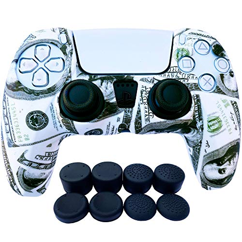 PS5 Controller Skins | Sony Playstation 5 Accessories - Silicone Protector Cover Skin for Dualshock with 8 x Pro Thumb Grip Caps (Dollar)