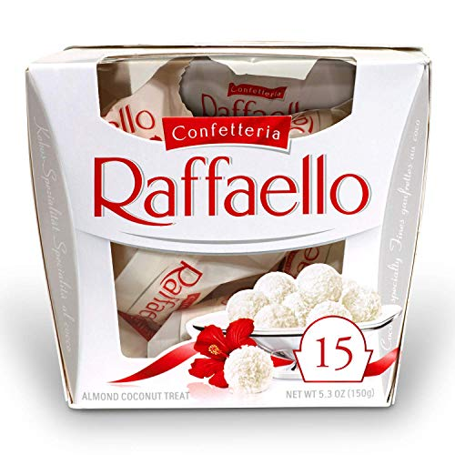 Ferrero Raffaello Almond Coconut Valentine#039s Day Candy 15 Count Pack of 6 Individually Wrapped Coconut Candy Gift Boxes 53 oz