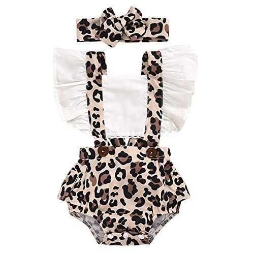 Zhantie Conjunto de ropa de verano con estampado de leopardo, para recién nacido, con diadema