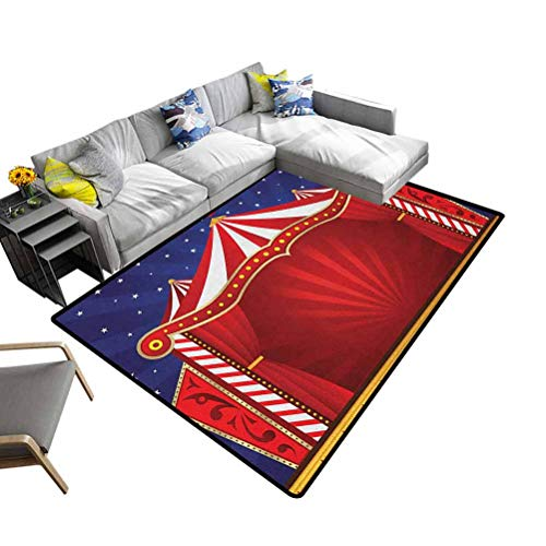 Modern Rugs Circus, Super Soft Area Rugs Bedroom Mats Canvas Tent Circus Stage Performing Theater Jokes Clown Cheerful Night for Bedroom Playroom Nursery, Best Shower Gift Blue Vermilion, 5 x 7 Feet