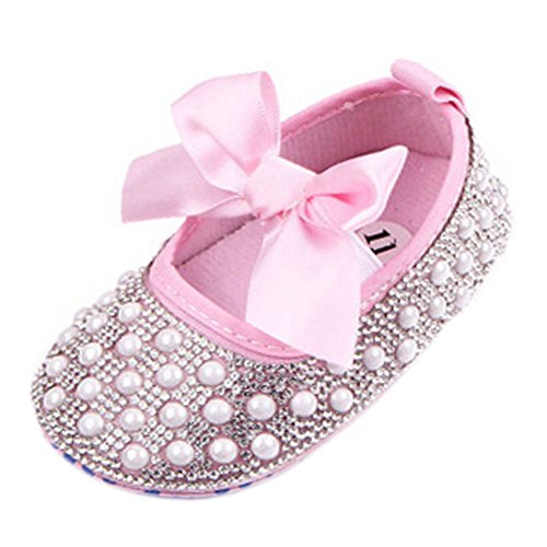 Fire Frog Newborn Baby Bow Bling Crystal Pearl Mary Jane Toddler Prewalker Shoes Pink 6-12 Months